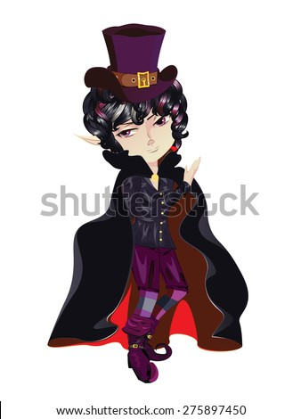 cute cartoon vampire boy in