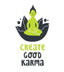 Cute cartoon vector illustration with sitting Buddha statue, lotus and text lettering quote