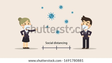 Cute cartoon vector of Social distancing ,2 Businessman and woman keep distance in public society people to protect from COVID-19 coronavirus outbreak spreading concept,