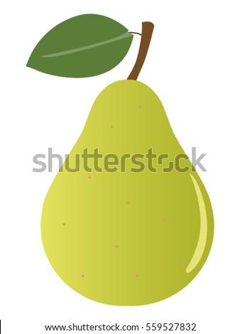 Cute Cartoon Vector Pear Fruit Illustration