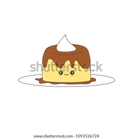 cute cartoon vector pudding
