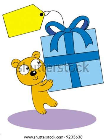 Cute cartoon vector teddy ear with