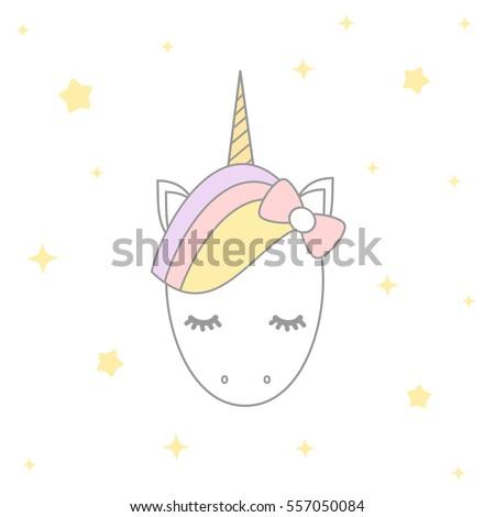 cute cartoon vector unicorn