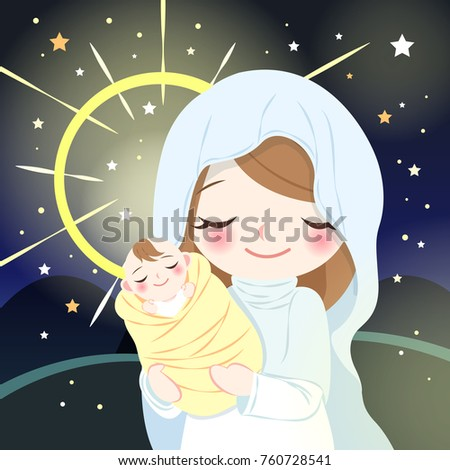 cute cartoon virgin mary with