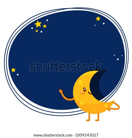 cute cartoon waning crescent