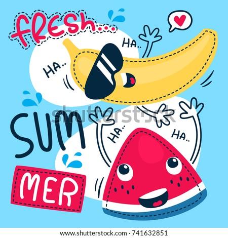 Cute cartoon watermelon and banana enjoying the summer on blue background illustration vector.