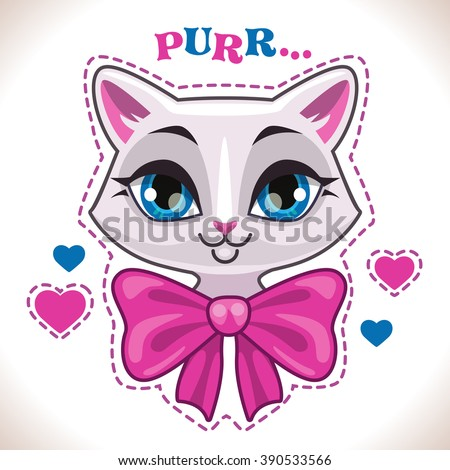 Cute cartoon white cat girl face with big pink bow, fashion girlish vector illustration for t shirt print design