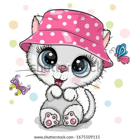 cute cartoon white kitten in a