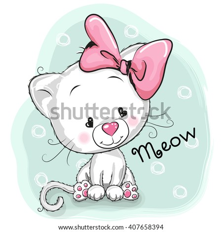 cute cartoon white kitten on a