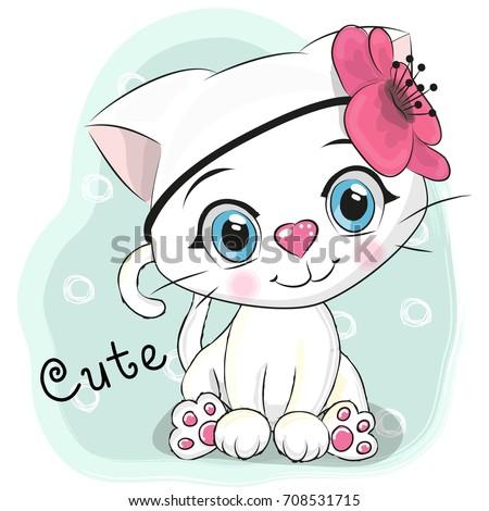 cute cartoon white kitten with
