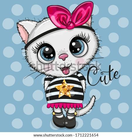 cute cartoon white kitty on a