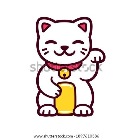 Cute cartoon white Maneki Neko, Japanese lucky cat. Good luck Feng Shui kitty drawing. Isolated vector illustration.