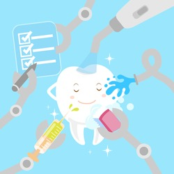 cute cartoon white teeth with whitening concept