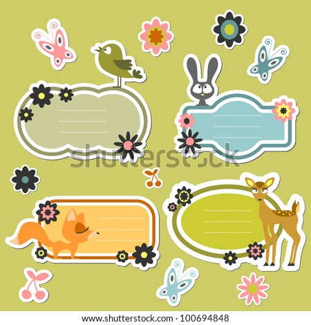 Cute cartoon wild animals stickers