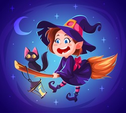 Cute cartoon witch character. Happy halloween vector illustration. Character concept art. Witch flying on a broomstick with black cat. Night sky with stars and moon.