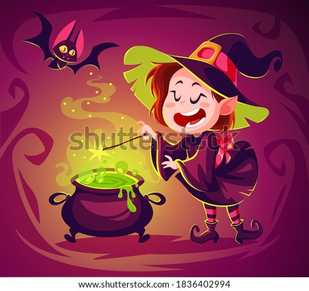 Cute cartoon witch character. Happy halloween vector illustration. Character concept art. Witch cooking poison in a cauldron. Spooky witchcraft. Flying bat. Foto stock ©