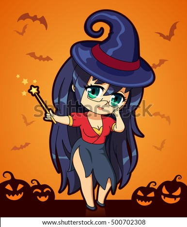cute cartoon witch in anime