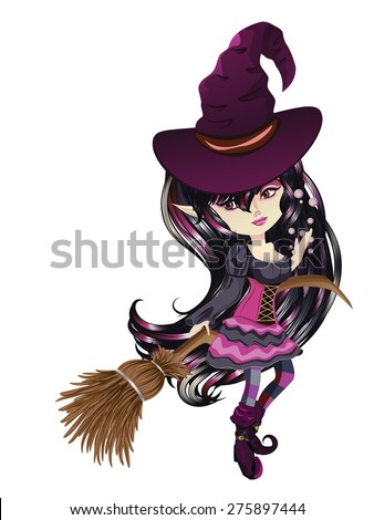 cute cartoon witch with broom