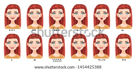 Cute cartoon with long red hair girl talking mouth animation. Female character speak mouths expressions