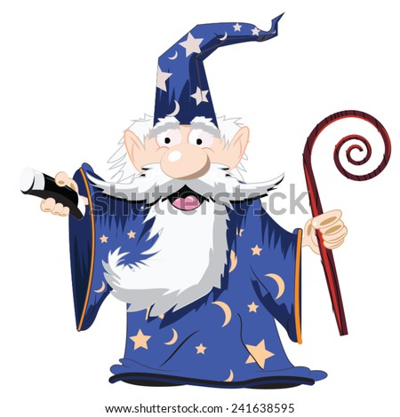 Cute Cartoon Wizard with a cane and a tall hat. Stockfoto ©