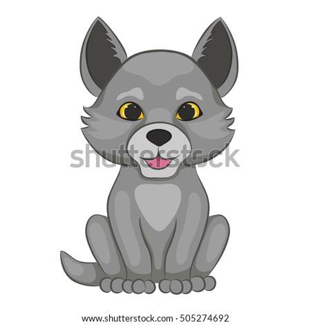 cute cartoon wolf cub forest