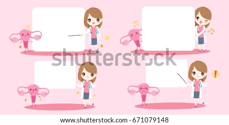 cute cartoon woman doctor with uterus on pink background