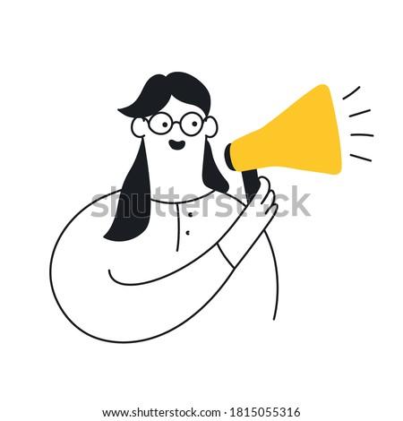 Cute cartoon woman holding megaphone. Benefits speech, voice, leader, announcement, loudspeaker, marketing and advertising concept. Flat line modern vector illustration on white