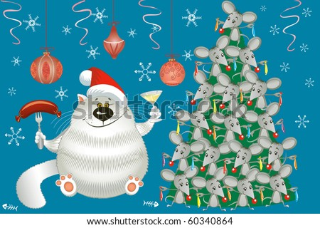 Cute cat and christmas tree decorated with mice