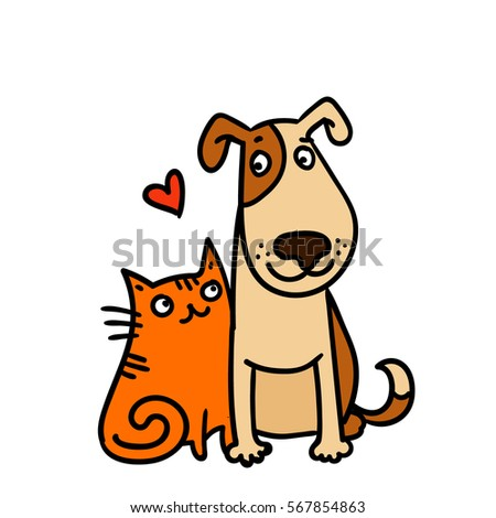cute cat and dog best friends