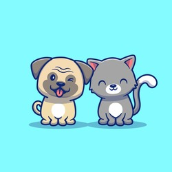 Cute Cat And Dog Cartoon Vector Icon Illustration. Animal Icon Concept Isolated Premium Vector. Flat Cartoon Style