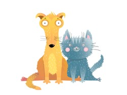 Cute cat and dog flat vector illustration. Charming domestic animals flat vector illustration. Adorable pets sitting together cartoon characters. Smiling grey kitten with mongrel friend. Funny kitty.