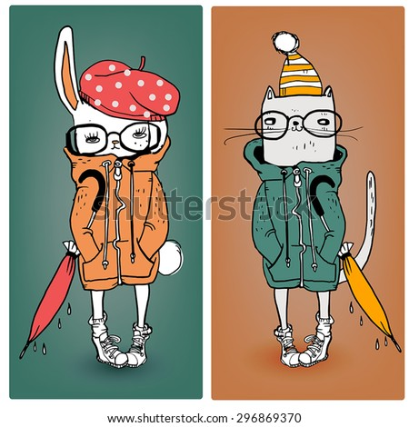 cute cat and hare in warm clothes - stock vector