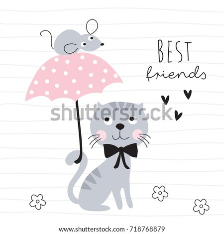Stock Photo cute cat and mouse with umbrella vector illustration