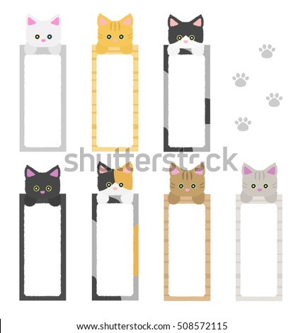 cute cat bookmark paper collection , cartoon style isolated on white background vector