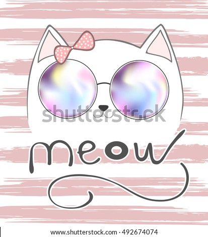 cute cat, cat with pink bow, cat and lettering, cat meow,  cat graphic, cat illustration, cat vector, cat T-shirt Print, pretty cat, white cat, isolated cat, little cat, sketch cat, girl cat, face cat