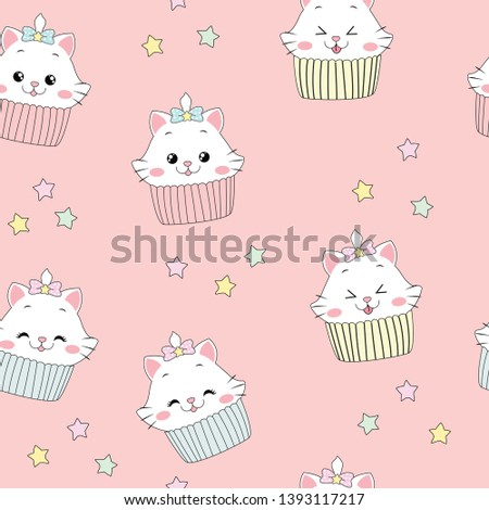 Cute cat cupcake with star seamless pattern.