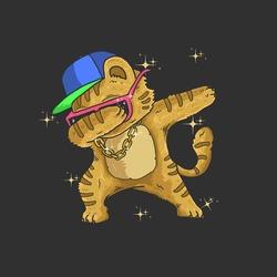 cute cat dabbing dance illustration vector graphic