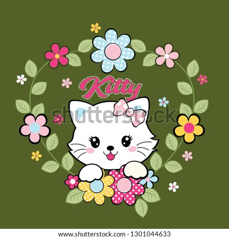 cute cat decorated with beautiful flowers vector illustration