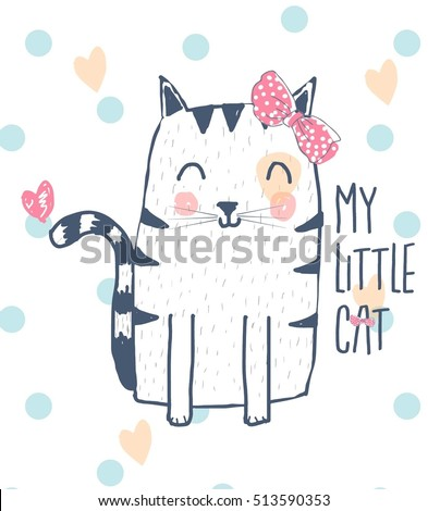 cute cat  design.T-shirt graphics for kids vector illustration