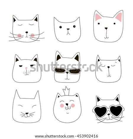 cute cat doodle series avatars