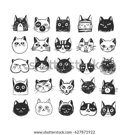 cute cat doodle set  sketch