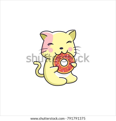 cute cat eating donut isolated