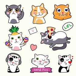 Cute Cat Emoticons - Stickers - Vector