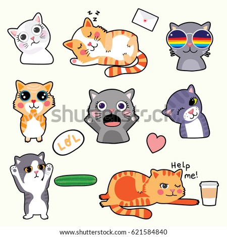 cute cat emoticons   stickers