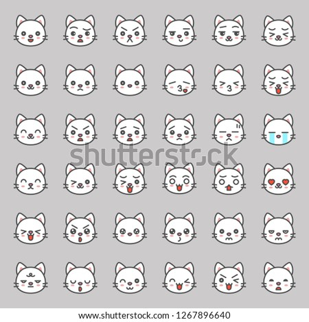 Cute cat emotion face in various expession, editable stroke icon