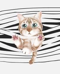 cute cat entangled on stripe background vector illustration