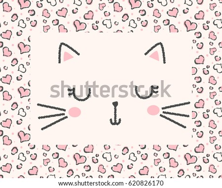 cute cat face illustration for