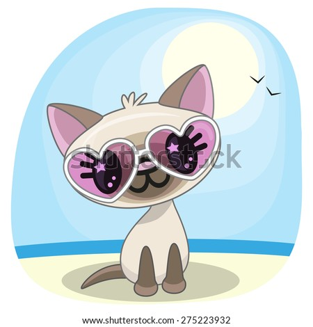 cute cat girl in sunglasses on
