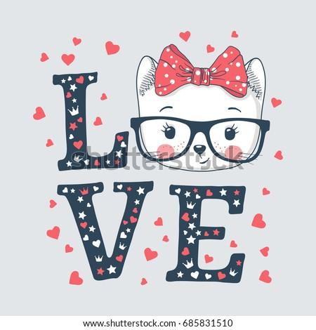 Cute cat girl. Love slogan. Vector illustration for print design