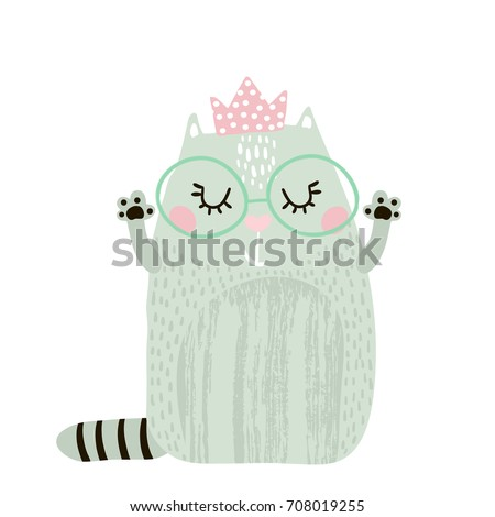 Cute cat girl with crown isolated on white. Childish print for apparel, nursery, cards,posters. Vector Illustration